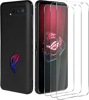 NEWZEROL Kompatibel för Asus Rog Phone 5 fodral + 3 pansarglas skärmskydd 2,5D Arc Edge Anti Scratch högupplöst displaysky...