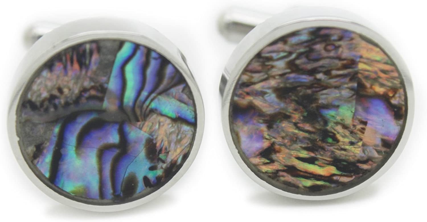 The Proper Cuff Stainless Steel & Colorful Abalone Round Cufflinks by