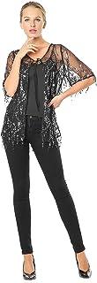 Metme - Hängende Pailletten-Cardigan-Umhang Durchsichtige, offene Vorderseite Glitter-Schals 1920er Jahre Kimono Sparkly Wrap Scarfs Sleeve Lange Abdeckung MEHRWEG