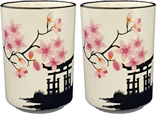 Happy Sales HSCM-TCBWP2, Perfect 2 pc White and Pink Blossom Japanese Teacups Mugs set