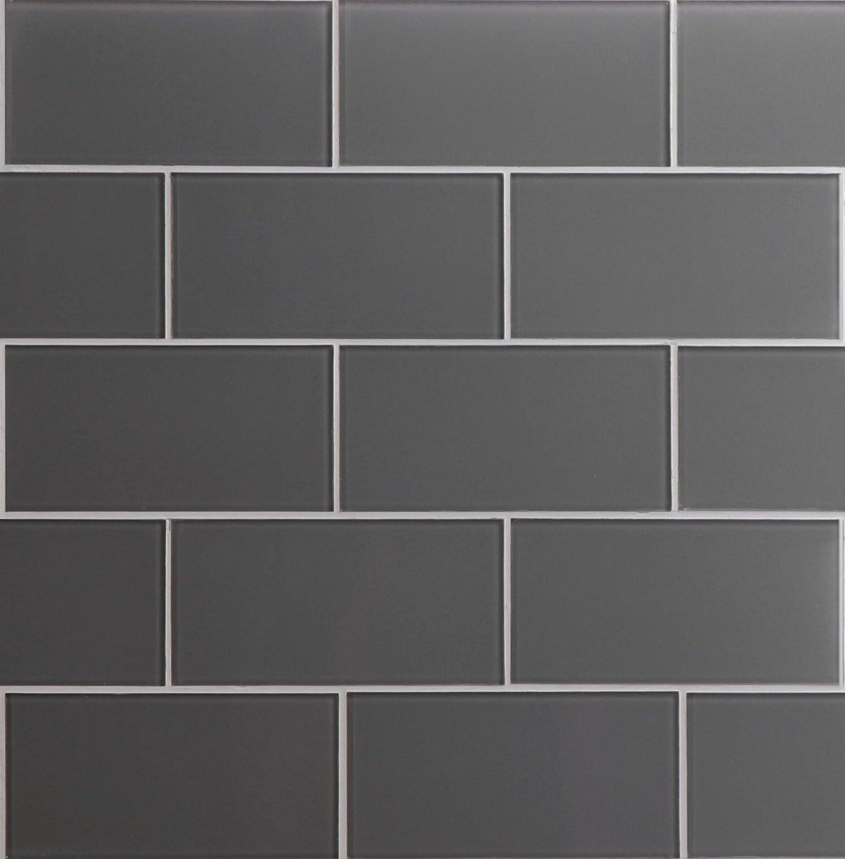 Glass Today's only Subway Backsplash Tile Kolors Series Dark Gray in for Houston Mall Kitc