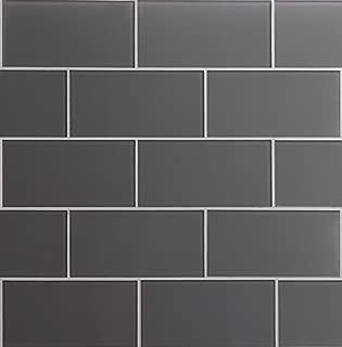 Glass Subway Backsplash Tile Kolors Series in Dark Gray for Kitchen and Bathroom by WS Tiles - WST-02C - 40 Tiles (3