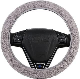 O SHI CAR Winter Australian Wool Steering Wheel Cover Universal,Cashmere Handlebar on The Steering-Wheel with Anti-Skid Base Fabric Grey