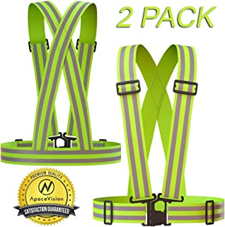 Apace Vision Reflective Vest (2 Pack) | Lightweight, Adjustable & Elastic | Safety & High Visibility for Running, Jogging, Walking, Cycling | Fits Over Outdoor Clothing - Motorcycle Jacket/Gear