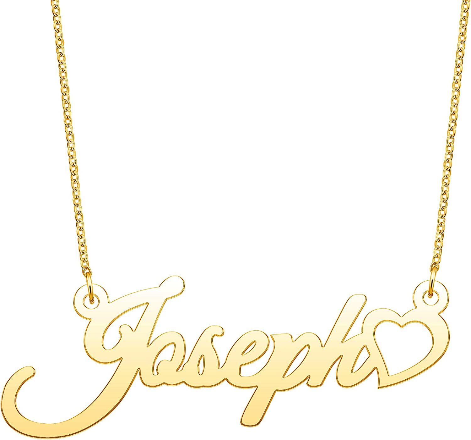 YSAHan Love Heart Name Necklace Personalized Script Cursive Name Gold Jewelry Birthday Gift for Women