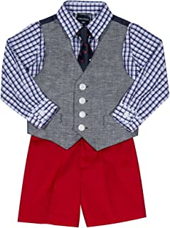 Nautica Baby Boys 4-Piece Set with Dress Shirt, Vest, Shorts, and Tie