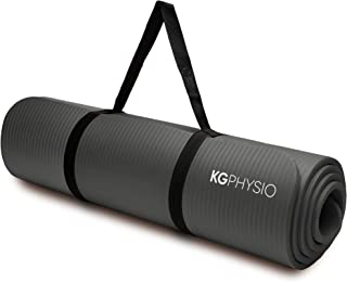 KG Physio Yogamatta – halkfri yogamatta med yogamattrem ingår – 183 cm x 60 cm x 1 cm tjock träningsmatta perfekt för Hii...