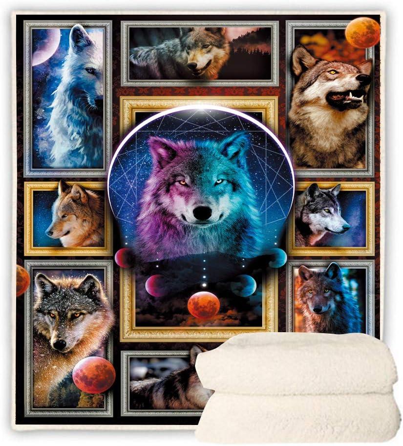 定番キャンバス BEDBLK Moon Change Wolf Blanket Throws Super Bla Warm 送料無料 Soft Plush
