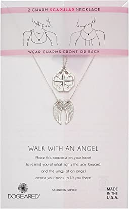 Walk with and Angel, Two Charm Compass and Angel Wing Scapular Necklace