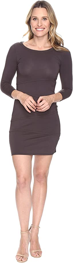 Cotton Modal Spandex Jersey 3/4 Sleeve Asymmetrical Tiered Dress