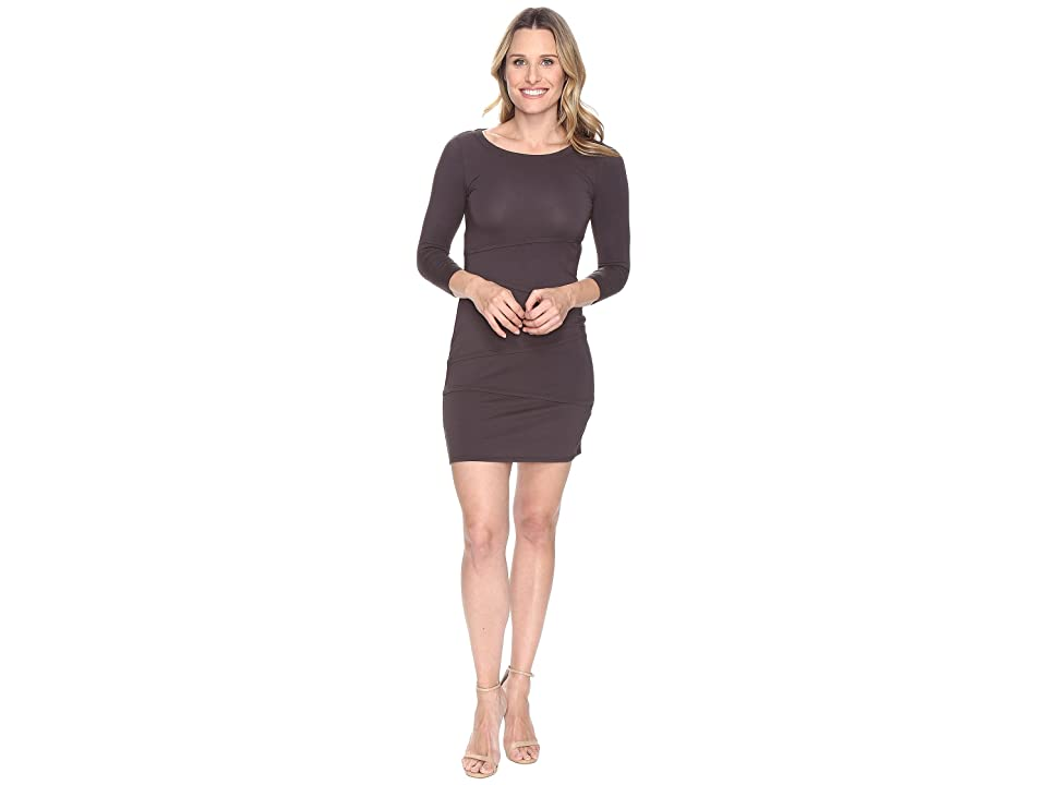 Mod-o-doc Cotton Modal Spandex Jersey 3/4 Sleeve Asymmetrical Tiered Dress (Dark Nickel) Women