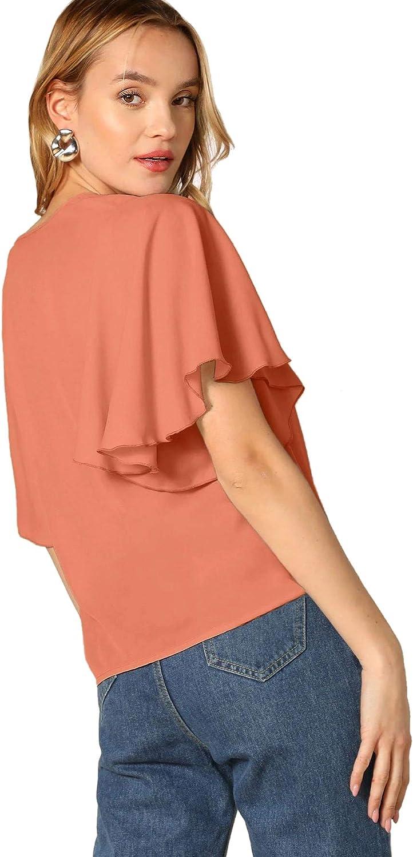 SweatyRocks Womens Elegant Chiffon Solid Ruffle Short Sleeve V Neck Blouse T-Shirt Top