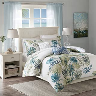 Harbor House Lorelai Duvet Cover King/Cal King Size - White, Green, Blue, Tropical Plants, Leaf Duvet Cover Set – 5 Piece – 100% Cotton Sateen, Cotton Percale Light Weight Bed Comforter Covers
