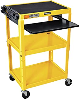 Offex Height Adjustable Multipurpose Steel AV Cart with Pullout Tray