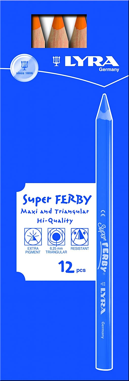 LYRA Super Ferby Giant Triangular Colored Pencil 3711180 6.25 Millimeter Cores Assorted Colors Unlacquered 18-Pack