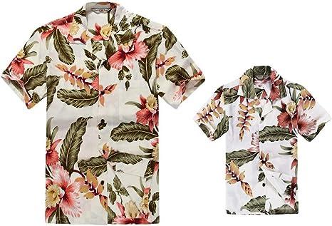 Padre e Hijo a Juego Traje Hawaiano de Luau Camisa de Hombre Camisa de niño Corto Crema Rafelsia