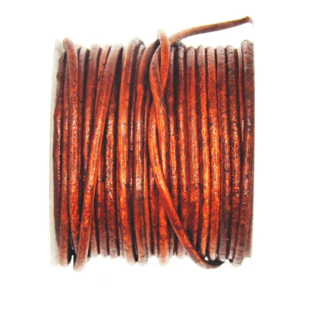 Glory Qin Distressed Brown Color Soft Round Genuine Jewelry Leather Cord Leather Rope (2mm 10 Yards)