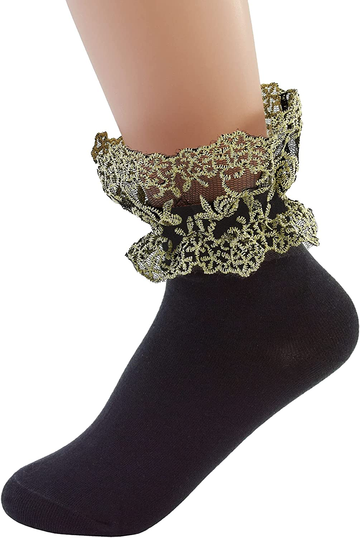 VIVIKI Women Lace Ruffle Socks Solid Color Frlly Ankle Socks Lolita Girls Cotton Socks