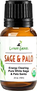 White Sage & Palo Santo Essential Oil For Diffuser & Aromatherapy - Clears & Purifies Energy - Relieves Stress & Anxiety -...