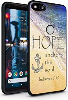 Case for Pixel 2 XL Bible Writings - Topgraph [Soft TPU Slim Fit Black with Design] Cover Compatible for Google Pixel 2 XL Protective Cover Bible Writings Silicone Cover Hope Anchors The Sould