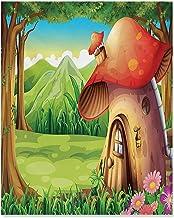 ScottDecor Mushroom Wall Decor Shroom House Land Mountain Daisies Weeds Surrounding Woods Mountain Paintings for Living Ro...