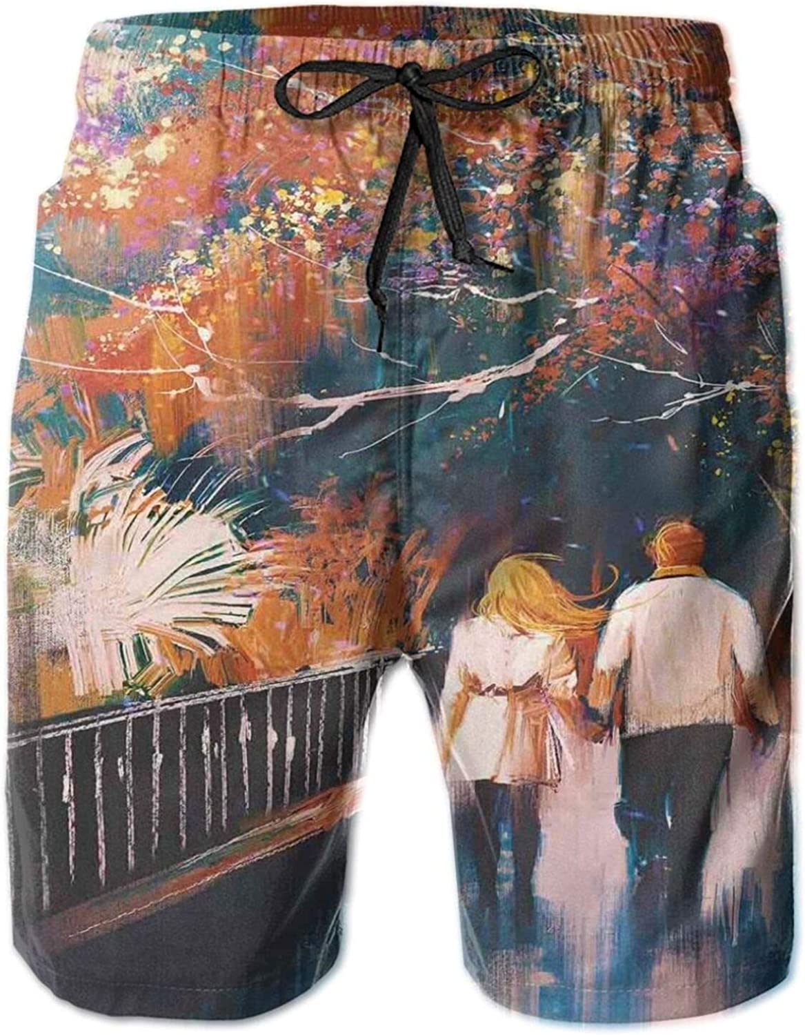 A Lover Couple Walking and Holding Hands Among with Browning Trees in Autumn Park Mens Swim Shorts Casual Workout Short Pants Drawstring Beach Shorts,L