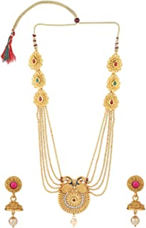 Efulgenz Indian Bollywood Traditional White Red Green Rhinestone Faux Ruby Emerald Heavy Bridal Designer Multistranded Lariat Necklace Set for Women and Girls