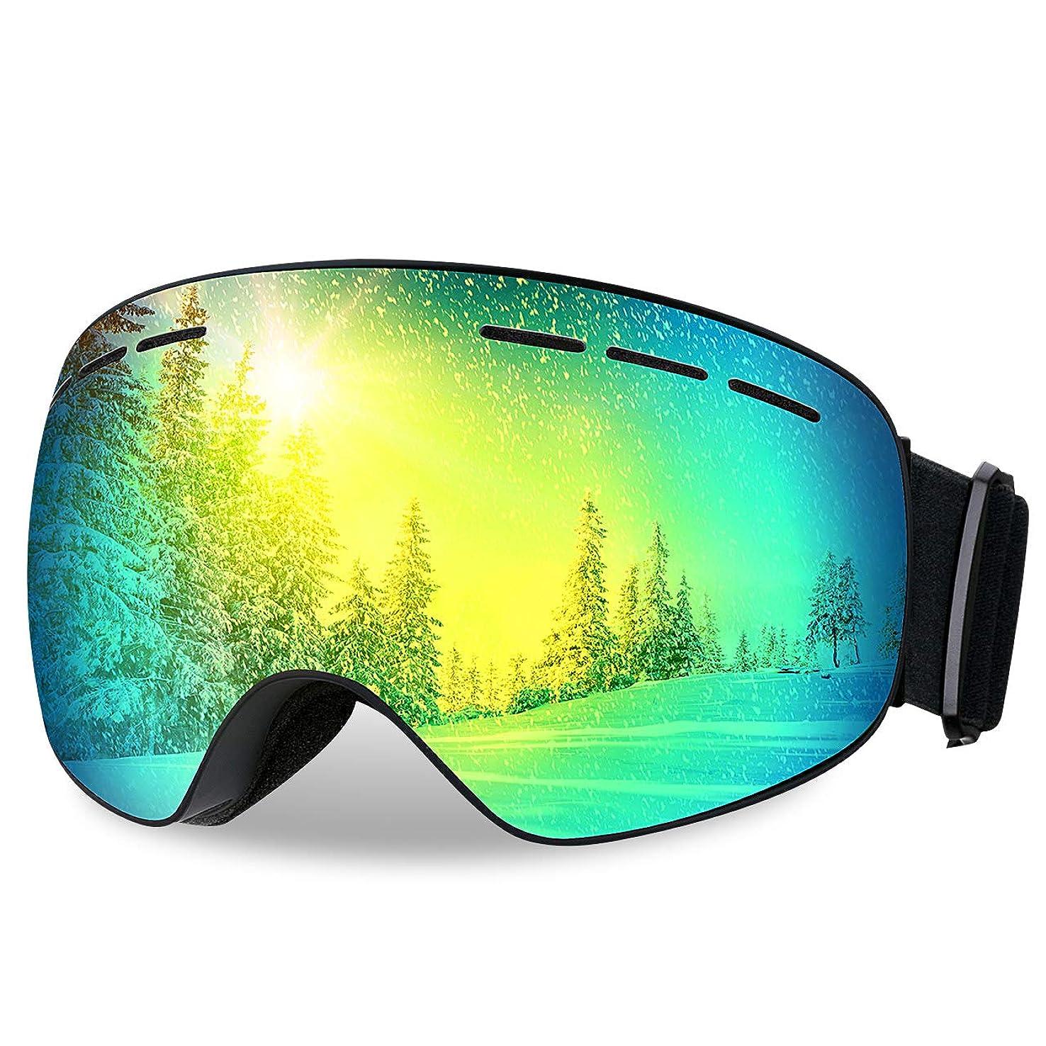 元に戻すオセアニアいつPatech スノーゴーグル スキーボード 99%UVカット 曇り防止 球面レンズ 防風/防雪/防塵 山登り/スキーなど用 男女兼用