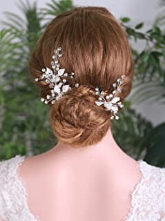 YERTTER Bride Wedding Silver Hair Pins Crystal Hair Clip Flower Bridal Headpieces leaves Hair Accessories Jewelry for Wome...