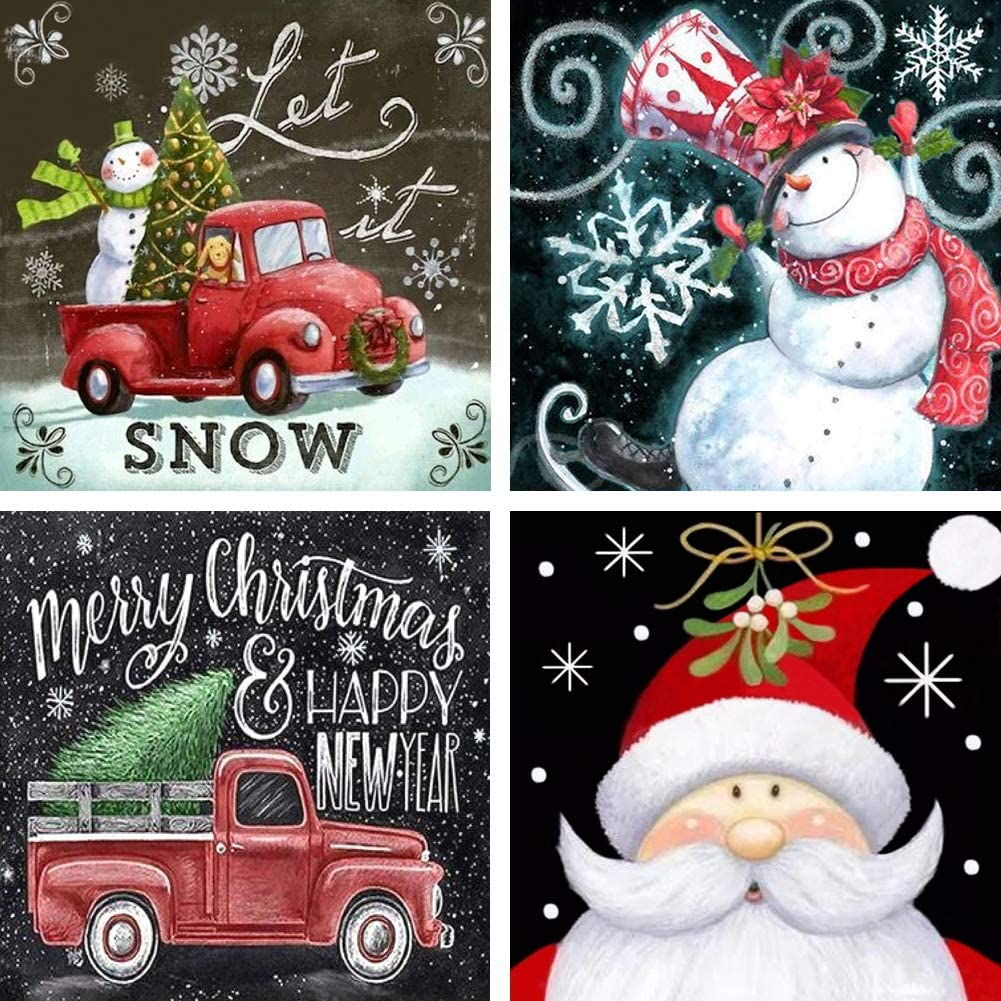 4 Packs 5D Diamond Painting Kits for Adults, 12 x 12 Inch Christmas Diamond Painting Wall Hanging Full Drill Diamond Art Kits Crafts Gift for Christmas Snowman Wall Decor(White)