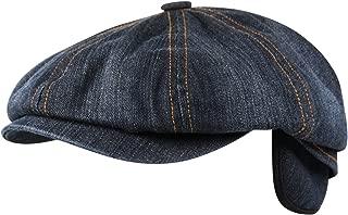Denim 8 Panel Ear Flap Flat Cap Hat Baker Boy Newsboy in Washed Blue