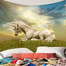 Tapestries White Horse Nest In The Grass Wildflowers Sunlight Wind Tapestry Green Natural Home Decoration For Bedroom Dormitory Decoration 150x200cm