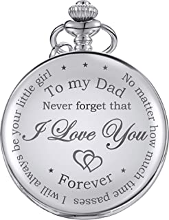 Dad Gift from Daughter to Father Engraved Pocket Watch - No Matter How Much Time Passes, I Will Always Be Your Little Girl (Silver)