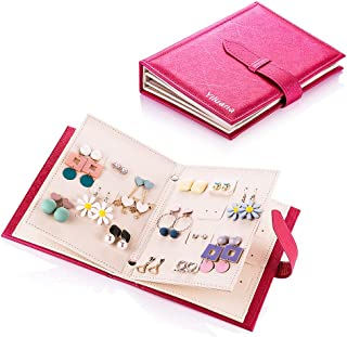 Yiluana Organizer, Portable Travel Jewelry Case Pu Leather Earring Holder with Book Design (Fuchsia), Medium,