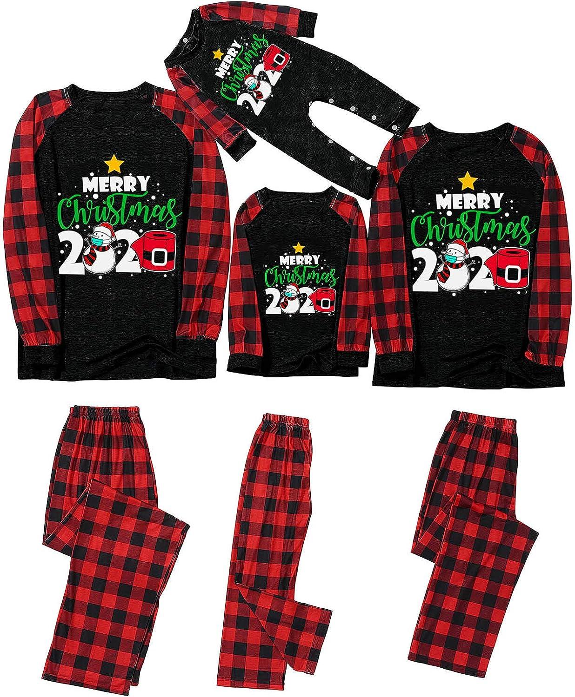 Xiangdanful Matching Christmas Pajamas for Family Women Men Red Plaid Reindeer Holiday Sleepwear Mum and Dad Pjs Set 1