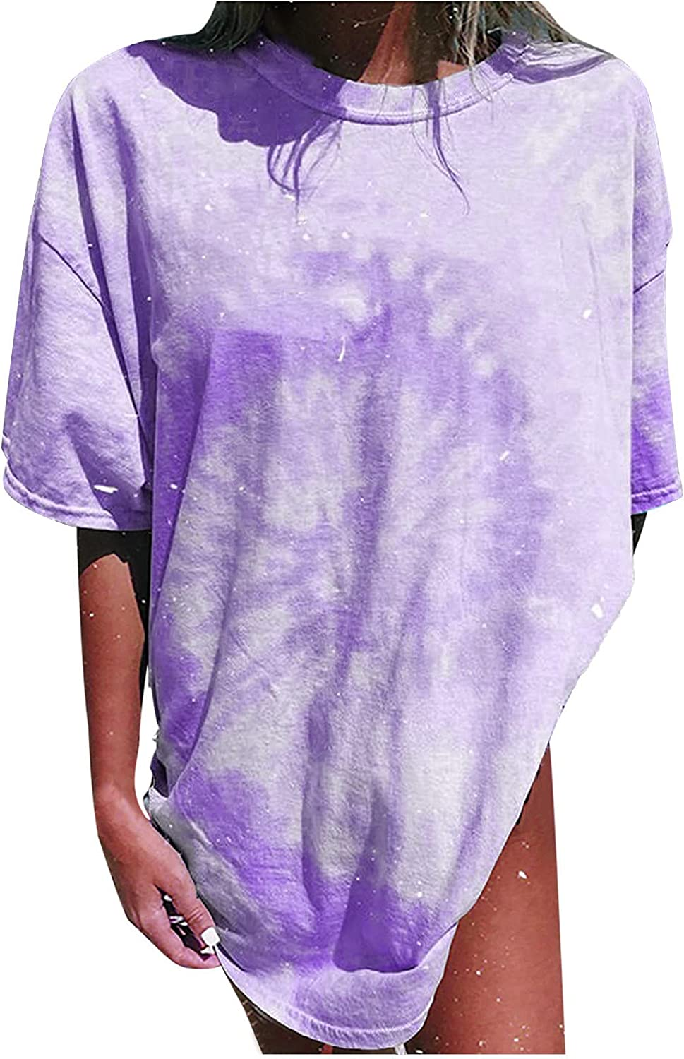 Oversized T Shirts for Women Vintage Moon and Sun Tee Summer Tops Short Sleeve Loose Casual Blouse Plus Size