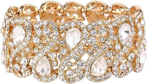 EVER FAITH Women's Austrian Crystal Teardrop 8-Shaped Knot Elastic Stretch Bracelet Clear