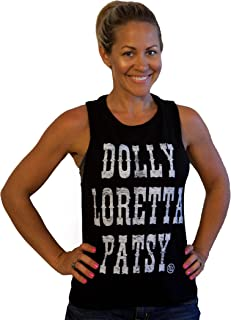 Womens Country Graphic Shirts Dolly Loretta Patsy; Muscle B/W