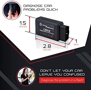 Bafx Products - Wireless Bluetooth OBD2 / OBDII Diagnostic Car Scanner & Reader Tool for Android Devices - Read/Clear...