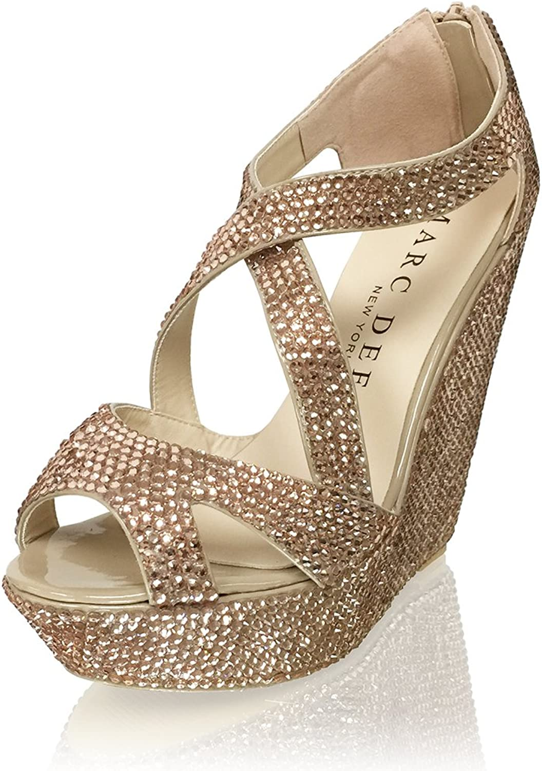Marc Defang New York Women's Handmade Crystal Bridal Wedding Strappy Platform Wedges