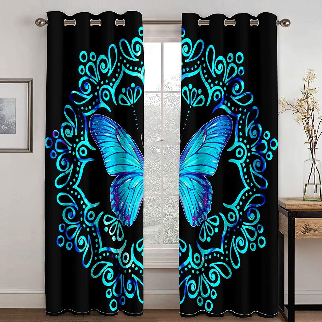 Butterfly Pattern Blackout Curtains Animals Anime Austin Mall Curtain Shipping included Window