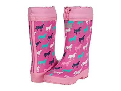Hatley Kids Horse Silhouettes Sherpa Lined Rain Boots (Toddler/Little Kid) (Pink) Girl