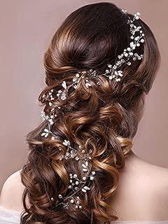 Unicra Wedding Headpiece Decorative Bridal Headband Hair Vine Hair Piece Accessories for Brides and Bridesmaids(19.7 Inches) (Silver)