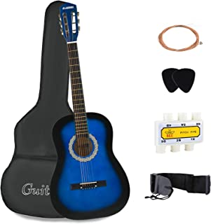 LAGRIMA نوازنده گیتار آکوستیک با گیتار مورد، بند، تیونر و انتخاب رشته های فولادی (آبی)