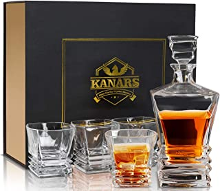 5-Piece Pacific Whiskey Decanter And Glass Set, KANARS Premium Lead Free Crystal Liquor Decanter Set For Scotch, Bourbon, Irish Whisky And Godmother Cocktail With Luxury Gift Box