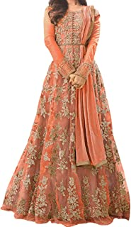Ethnic Empire Women's Net Semi-stitch Salwar Suit, Free Size (Orange, Ethnic_ER110110)