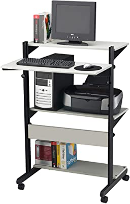"Mayline SOHO Adjustable Computer Table 32""W x 31""D x 50""H, 4 Shelves, Gray Tf/Black Frame"