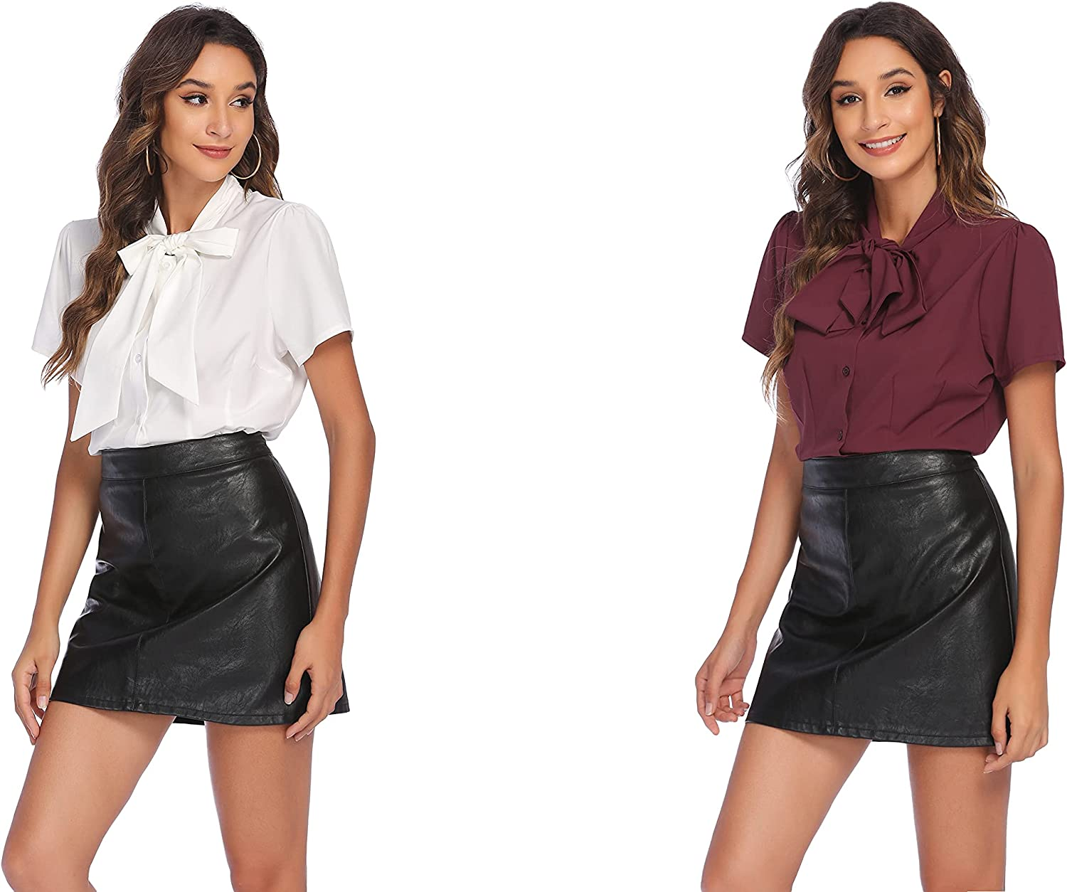 Zeagoo Women Bow Tie Neck Blouses Short Max 67% OFF W Pieces security Shirt Sleeves 2
