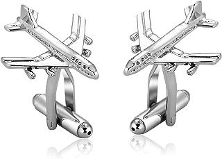 Wedding Cufflink for Men Business Gift Stainless Steel Silver Blue Aircraft Dress Shirt Cufflink