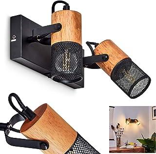 Applique murale Lengalau en bois et métal noir, spots retro-modernes orientables, idéal dans un salon contemporain, avec i...